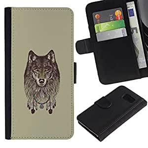 LECELL--Cuero de la tarjeta la carpeta del tirón Smartphone Slots Protección Holder For Samsung Galaxy S6 -- Lobo gris - Dreamcatcher --