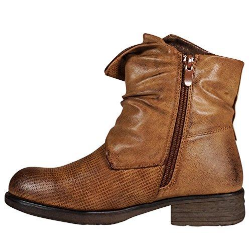 Damen Worker Stiefeletten Stiefel Boots Biker Outdoor Camel ST153