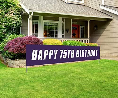 75th Birthday Banner (Blue Happy 75th Birthday Banner, Large 75th Birthday Party Sign, 75 Bday Party Supplies)
