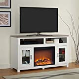 Ameriwood HOME Carver Electric Fireplace TV Stand in White
