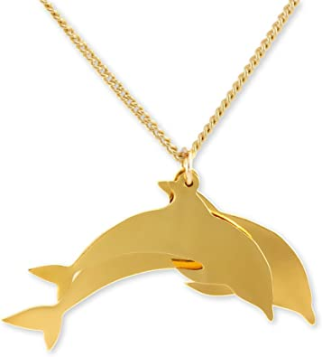 Dolphin Charm Necklace Silver Plated and Hand Painted MADE IN USA