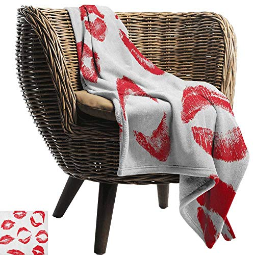 AndyTours Swaddle Blanket,Kiss,Various Different Kiss Marks in Red Woman Seduction Lipstick Trace Worn Grunge Look, Red White,Lightweight Extra Soft Skin Fabric,Not Allergic - Sports Biederlack Throws