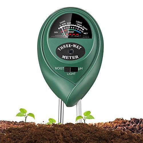 Jellas Soil Test Kit - 3 in 1 Soil pH Meter Tester Plant Moisture Sensor Meter/Light / pH Tester for Home, Garden, Lawn, Farm Promote Plants Healthy Growth - - Soil Test Kits