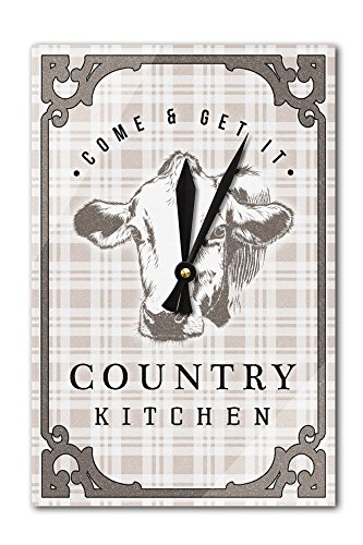 Country Kitchen - Cow on Plaid (Acrylic Wall Clock)