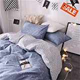 VClife Soft Twin Bedding Sets Chic Cotton Duvet Cover Reversible Constellation Galaxy Printed Bedding Comforter Cover, Kids Teens Adult Stripe Bed Set, Zipper Closure, Breathable, Lightweight, Twin