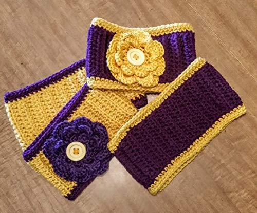 Hand Crocheted Headband Ear Warmer, flower or plain, purple and gold (Minnesota, Baltimore, Minnesota State, Mankato, Northern Iowa, Washington, Huskies) ()