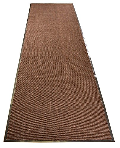 RugStylesOnline Entry Mat Doormat Entrance Mat and Hallway Runner Entry Collection Brown Black Color Slip Skid Resistant PVC Backing Anti Bacterial (Brown-Black, 3' x 10')