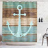 Anchor Shower Curtain Ambesonne Nautical Anchor Rustic Wood - Shower Curtain - Water, Soap, and Mildew Resistant - Machine Washable - Shower Hooks are Included, Teal Brown
