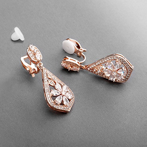 Mariell CZ Clip On Rose Gold Earrings - Art Deco Jewelry for Weddings, Bridal, Bridesmaids & Formals