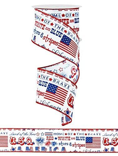 (White Satin America USA Flag Ribbon Red White Blue 2.5