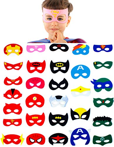 Dropplex 30 Superhero Masks Kids-Super Hero Halloween Party Supplies Justice League Birthday Favors … (Happy Birthday Dress Up)