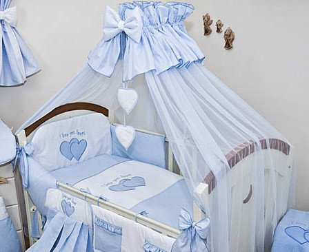 Baby/Fall/Moskitonetz groß 485cm + Universal Clamp Halterung für Betthimmel für Babybett, Herzen, blau
