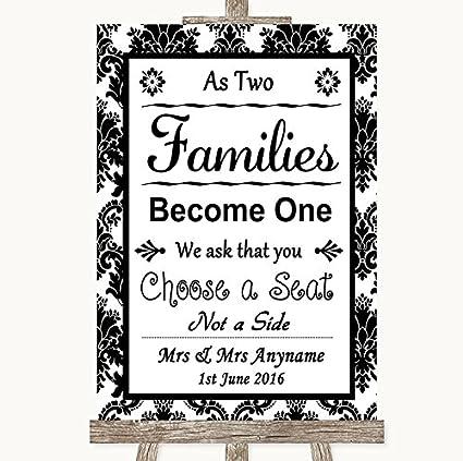 Cartel de boda de Damasco blanco y negro, con texto en ...