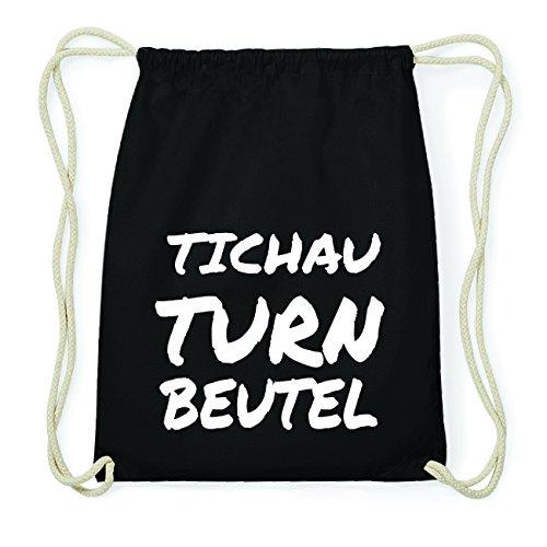 JOllify TICHAU Hipster Turnbeutel Tasche Rucksack aus Baumwolle - Farbe: schwarz Design: Turnbeutel