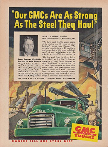 T D Cleage Steel Transportation KC MO for GMC Trucks ad 1950 T