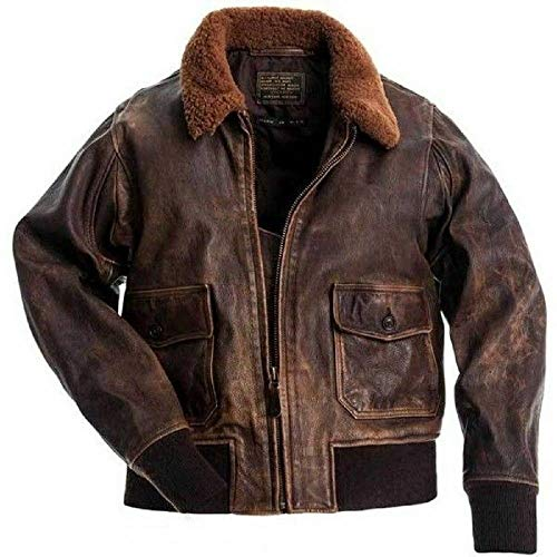 Vikings Fashion Mens G-1 Flight Jacket Distressed Brown Leather Jacket | G-1 Flight Real Leather Bomber Jacket (XXXL)