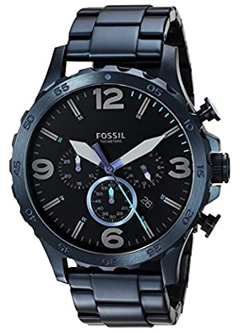 Fossil Men's '50mm Nate' Quartz Stainless Steel Casual Watch, Color:Blue (Model: JR1530) (Fossil Watchs Nate)