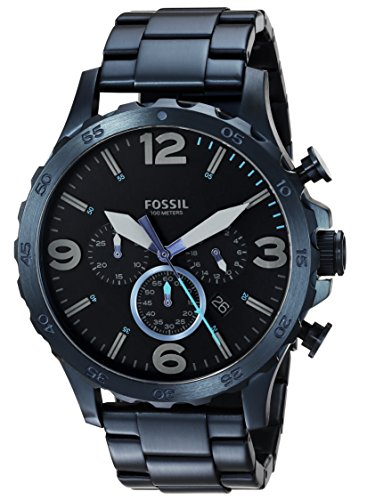 Fossil Men's '50mm Nate' Quartz Stainless Steel Casual Watch, Color:Blue (Model: JR1530)
