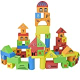 NiGHT LiONS TECH Deluxe 70PCS Early Learning EVA Environmental protection Foam soft Building Blocks Set Puzzle - Castle, Letter, mathematics, animal, spelling