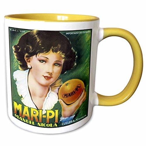 - 3dRose BLN Vintage Fruit and Vegetable Crate Labels - Vintage Mari-Pi Manuel Nicola Imported Oranges Crate Label - 15oz Two-Tone Yellow Mug (mug_129866_13)