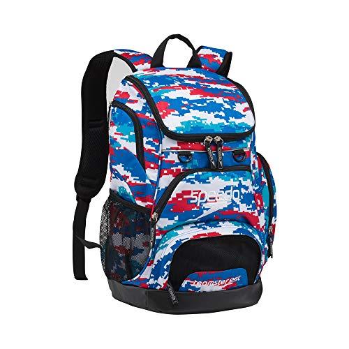 (Speedo Teamster Backpack, Red/White/Blue, Medium/25 L)