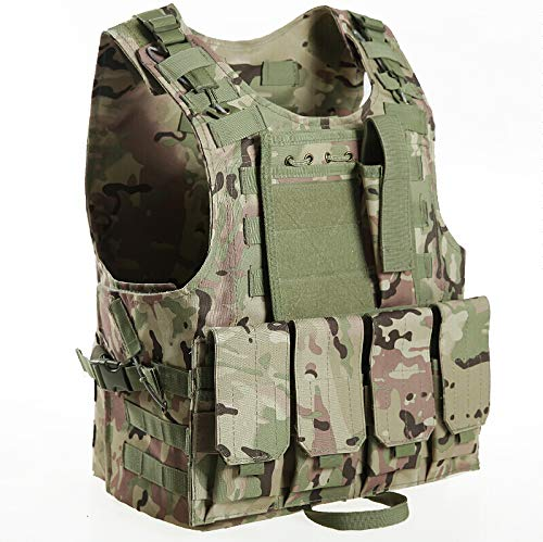 Invenko Trainning Tactical Airsoft Paintball Combat Swat Assault Army Shooting Hunting Outdoor Molle Police Vest (Plain camo)