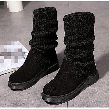 Botas de la mujer confort confort informal de primavera de silicona negro morado Fucsia Flat Purple