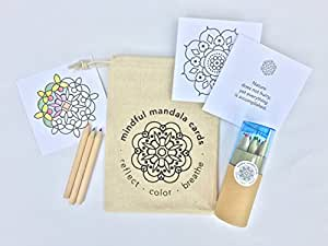Mindful Mandala Cards: Portable coloring kit with 24 mandala cards paired with inspirational quotes, plus pack of 12 colored pencils and sharpener.