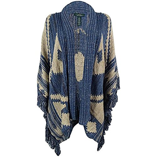 Polo LRL Lauren Jeans Co. Womens Wool Blend Southwestern Print Poncho Sweater (Petite Large) - Print Wool Blend