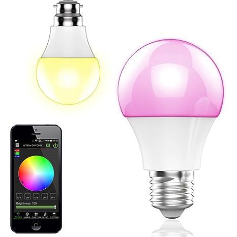 Expower RGB Bombilla Led con Altavoz Bluetooth 4.0 Ampolla Musical E27/E26, APP Control Móviles 16 ...