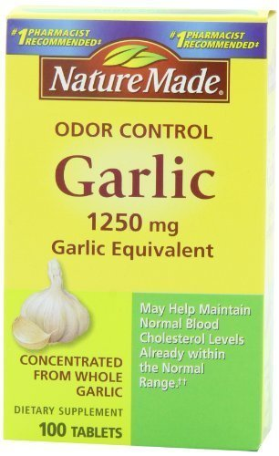 Nature Made Odor Control Garlic, 1250mg, 100 Tabs (Pack of 3) by Nature Made ()