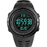 Men's Digital Sport Watch Led Military Waterproof Electronic Wrist Watch with Alarm Stopwatch Dual Time Zone Count Down EL Backlight Calendar Date for men -All Black