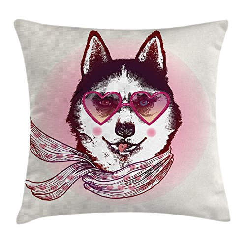 Cartoon Throw Pillow Cushion Cover by Ambesonne, Hipster Husky Dog with Hearts Sunglasses and Scarf Fashion Animal Art Print, Decorative Square Accent Pillow Case, 40 X 40 Inches, Pink Cream - Sunglasses Glasses Covering