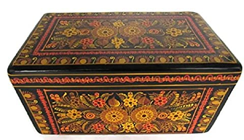 Rectangular Large Olinala Hand Painted Carved Incised Lacquerware Wooden Jewelry Trinket Stash Box Crafted in Guerrero Mexico w/Brass Hinges - Hand Painted Wooden Box