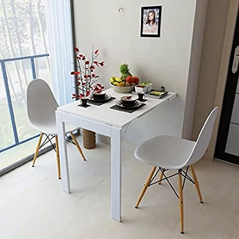 Amazon Com Isasar Wall Mounted Folding Table Space Saver Fold Out Convertible Desk White Kitchen Dining