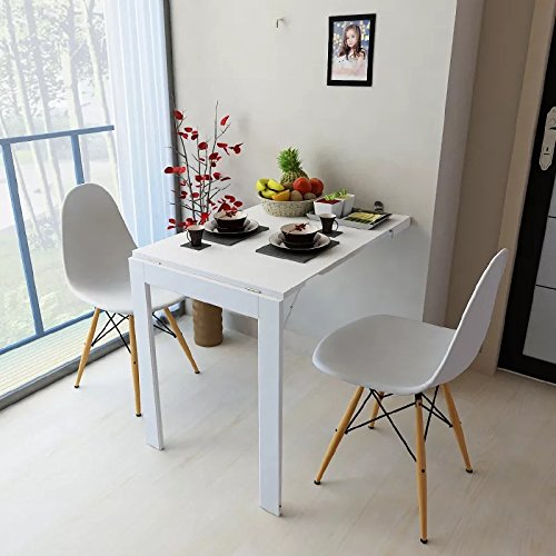 Isasar Wall Mounted Folding Table Space Saver Fold Out Convertible Desk (White) by Isasar