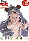 Premium Hooded Baby Towel, 100% ORGANIC Bamboo, FREE Baby Bib, Perfect Baby Shower Gift, 35x35' for Newborns Infants Toddlers & Kids, for Boys and Girls at Bath Pool & Beach, Better than Cotton (GRAY)