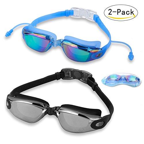 Swim Goggles DARIDO Swimming Goggles (2 pack)+ Protection Case( 2 pack) Swimming Goggles Clear Best Anti Fog UV Pretection No Leaking Triathlon Swim Goggles For Adult Men Women Youth Boys - Goggles Triathlon Best