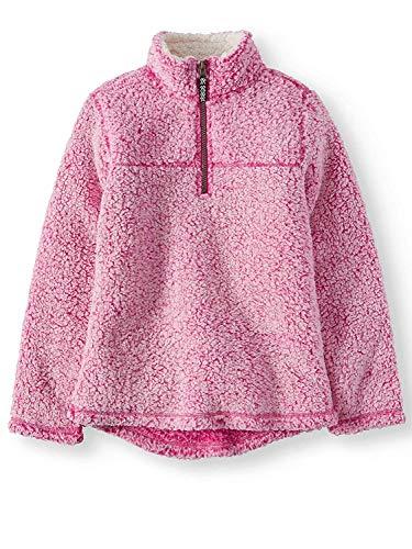 Wonder Nation Girls Quarter Zip Sherpa Pullover (X-Small 4/5, Berry Crush)