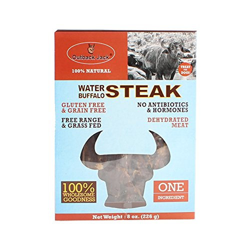 Outback Jack 8 oz Water Buffalo Steak Jerky Dog Treats, One (Natural Water Buffalo)