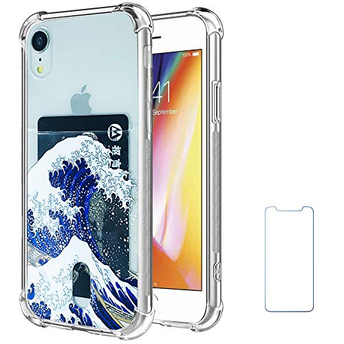 Oddss Case Compatible for iPhone XR with Card Holder Slot Blue Japanese Wave Ultra-Slim Thin Soft TPU Clear Cover Compatible for iPhone XR (6.1