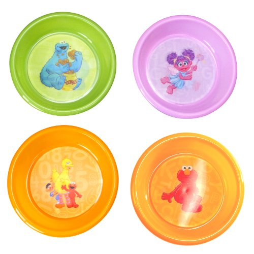 Sesame St. 4-Pack Bowl with 3D Designs of Orange Elmo/Green Cookie Monster/Pink Abby/Orange Characters