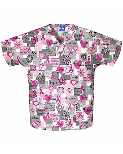 (Cherokee Scrub H.Q Women's Discount V-Neck 2-Pocket Tunic Style Breast Cancer Awareness Print Scrub Top Xx-Large Print)