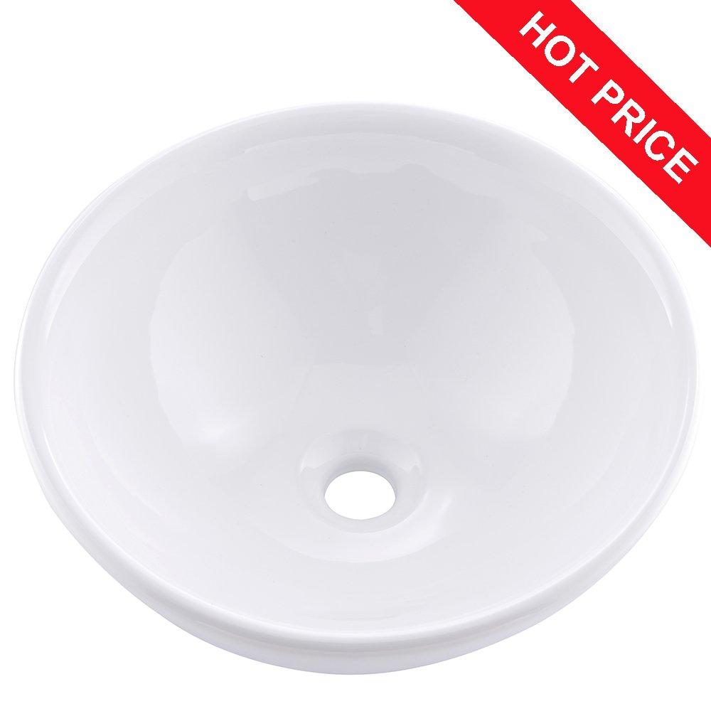 Friho 15.75''x15.75''x6.1'' Modern Above Counter Round Vanity Sink White Porcelain Ceramic Lavatory Bathroom Vessel Sink
