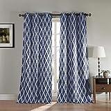 Cheap Blackout365 Kittattinny Heavy Geometric Blackout Window Curtain Set of 2 Panels, 38 x 112, Navy Blue