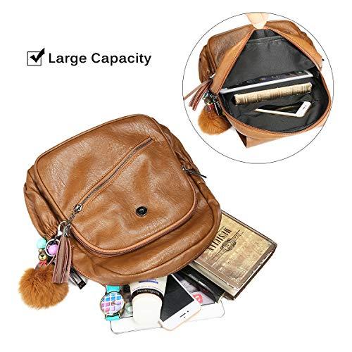 JOSEKO Bag Brown Travel Black Backpack Women Tassel Fashion Cartoon Backpack Bag PU Solid Leather Leisure Shoulder EqAFEaB