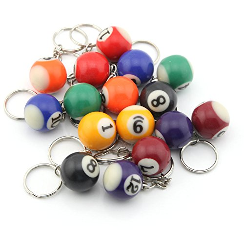 16 Assorted Colorful Billiards Pool Ball Keychain by Owfeel(TM)