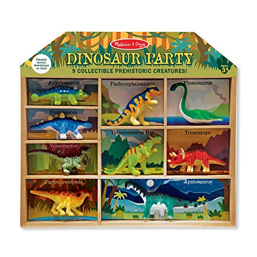 Melissa & Doug Dinosaur Party Play Set - 9 Collectible Miniature Dinosaurs in a Case -