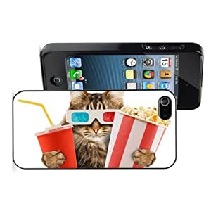 Apple iPhone 4 4S 4G Black 4B742 Hard Back Case Cover Color Cat with Popcorn Movie