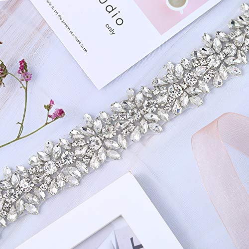 (XINFANGXIU 1 Yard Bridal Wedding Dress Sash Belt Applique with Crystals Rhinestones for Women Gown Evening Prom Clothes Handcrafted Sparkle Thin Sewn or Hot Fix)